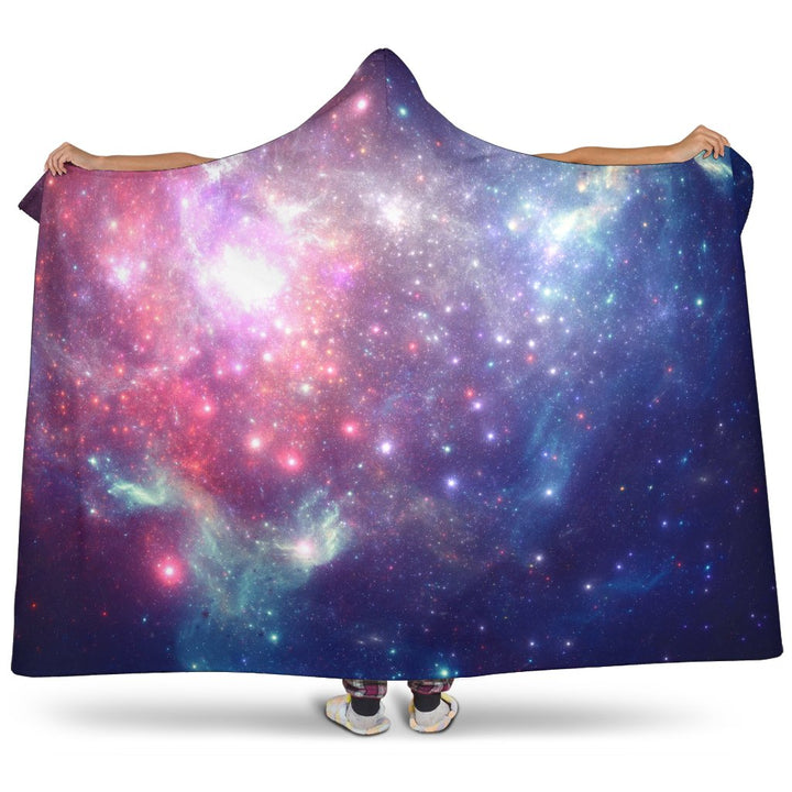 Bright Red Blue Stars Galaxy Space Print Hooded Blanket GearFrost