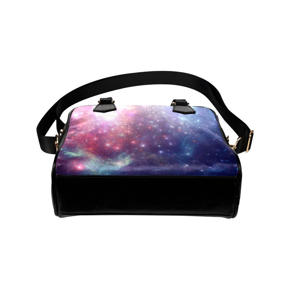 Bright Red Blue Stars Galaxy Space Print Leather Shoulder Handbag GearFrost