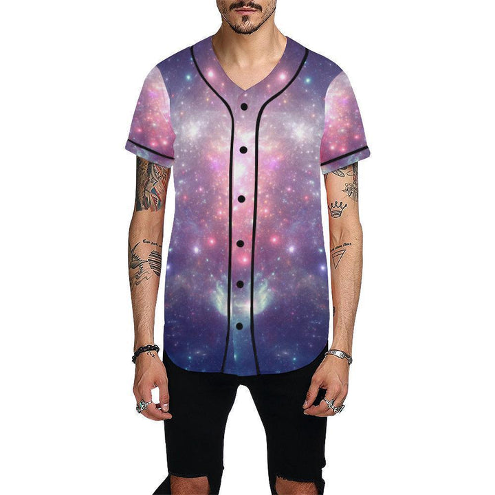 Bright Red Blue Stars Galaxy Space Print Men's Baseball Jersey GearFrost
