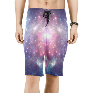 Bright Red Blue Stars Galaxy Space Print Men's Board Shorts GearFrost