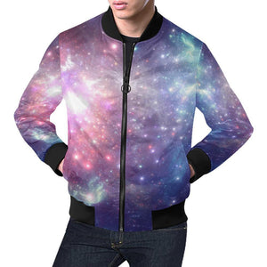 Bright Red Blue Stars Galaxy Space Print Men's Bomber Jacket GearFrost