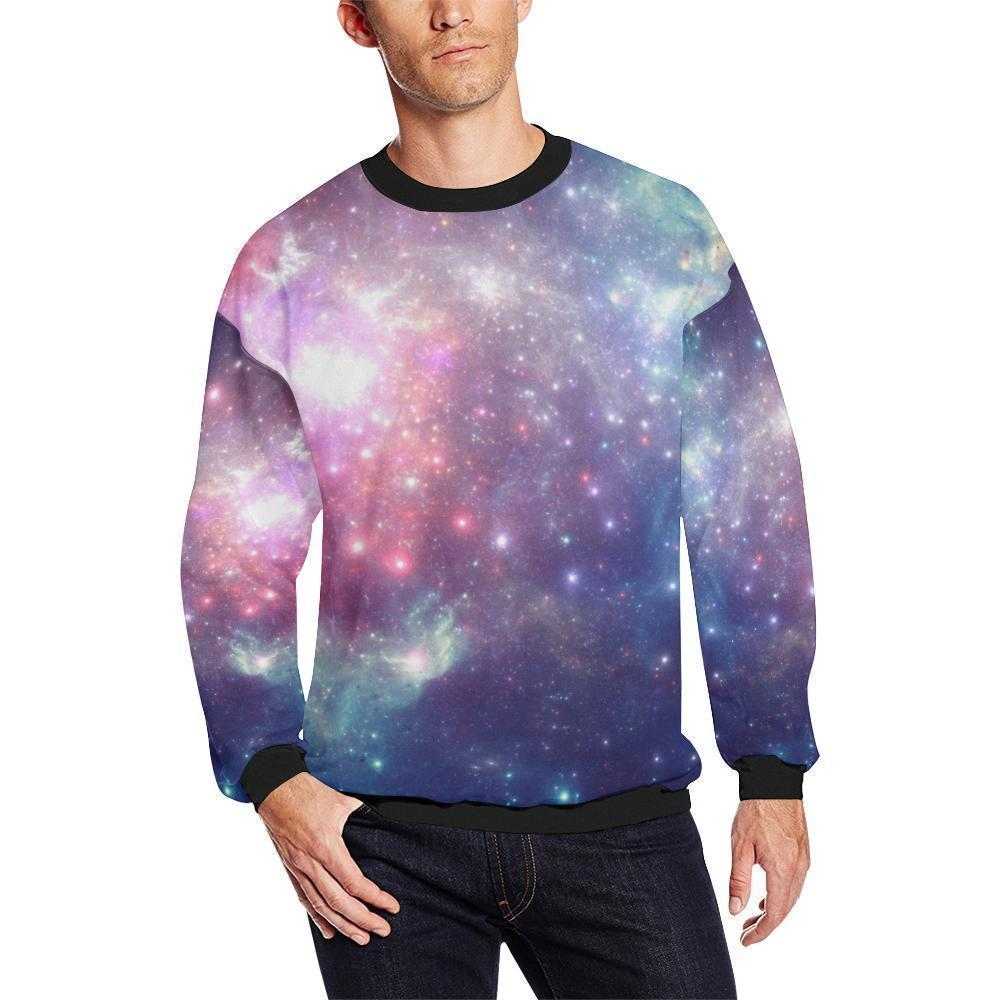 Bright Red Blue Stars Galaxy Space Print Men's Crewneck Sweatshirt GearFrost