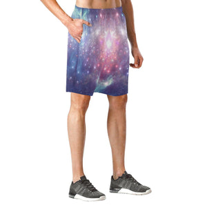 Bright Red Blue Stars Galaxy Space Print Men's Elastic Board Shorts GearFrost