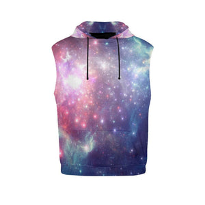 Bright Red Blue Stars Galaxy Space Print Men's Sleeveless Hoodie GearFrost