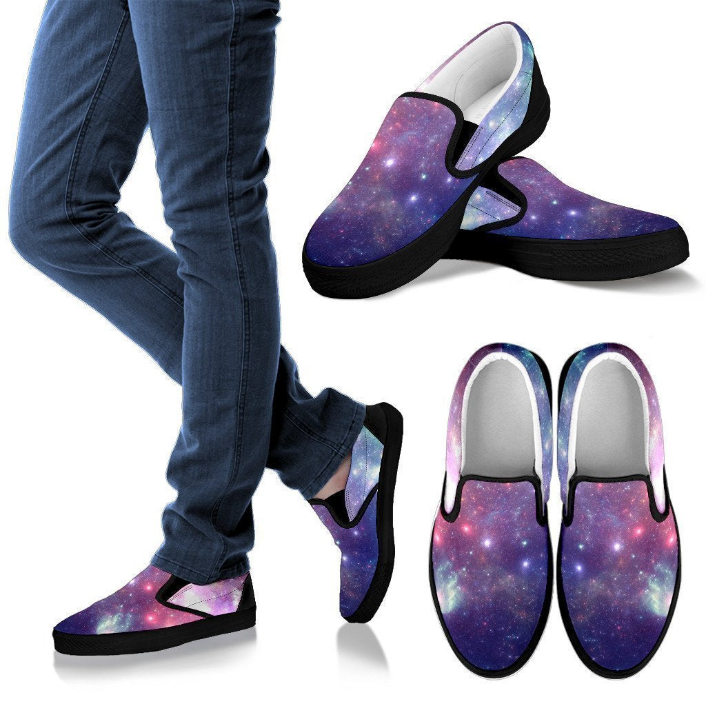 Bright Red Blue Stars Galaxy Space Print Men's Slip On Shoes GearFrost