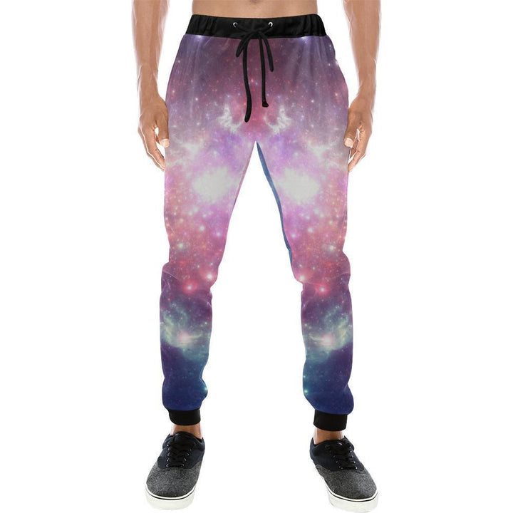 Bright Red Blue Stars Galaxy Space Print Men's Sweatpants GearFrost