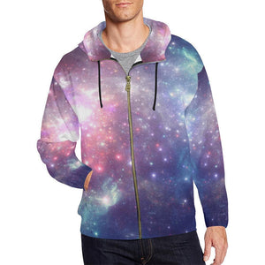 Bright Red Blue Stars Galaxy Space Print Men's Zip Up Hoodie GearFrost