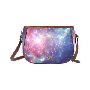 Bright Red Blue Stars Galaxy Space Print Saddle Bag Crossbody Purse GearFrost