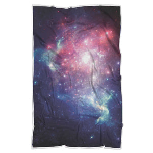 Bright Red Blue Stars Galaxy Space Print Sherpa Blanket GearFrost