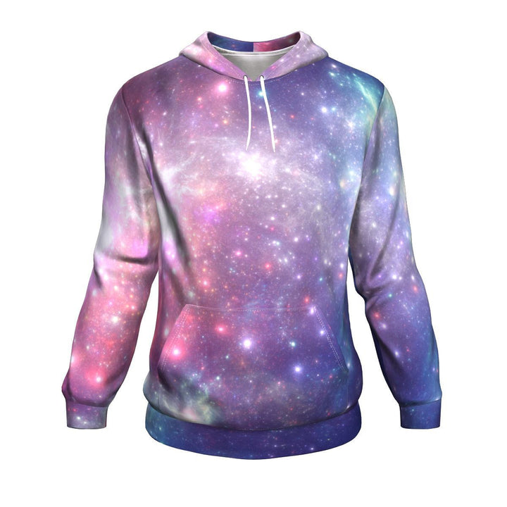 Bright Red Blue Stars Galaxy Space Print Unisex Pullover Hoodie GearFrost