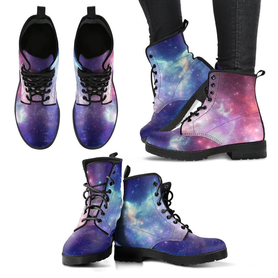 Bright Red Blue Stars Galaxy Space Print Women's Boots GearFrost