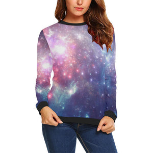 Bright Red Blue Stars Galaxy Space Print Women's Crewneck Sweatshirt GearFrost