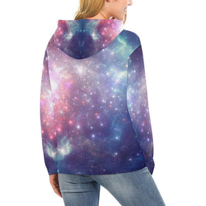 Bright Red Blue Stars Galaxy Space Print Women's Pullover Hoodie GearFrost