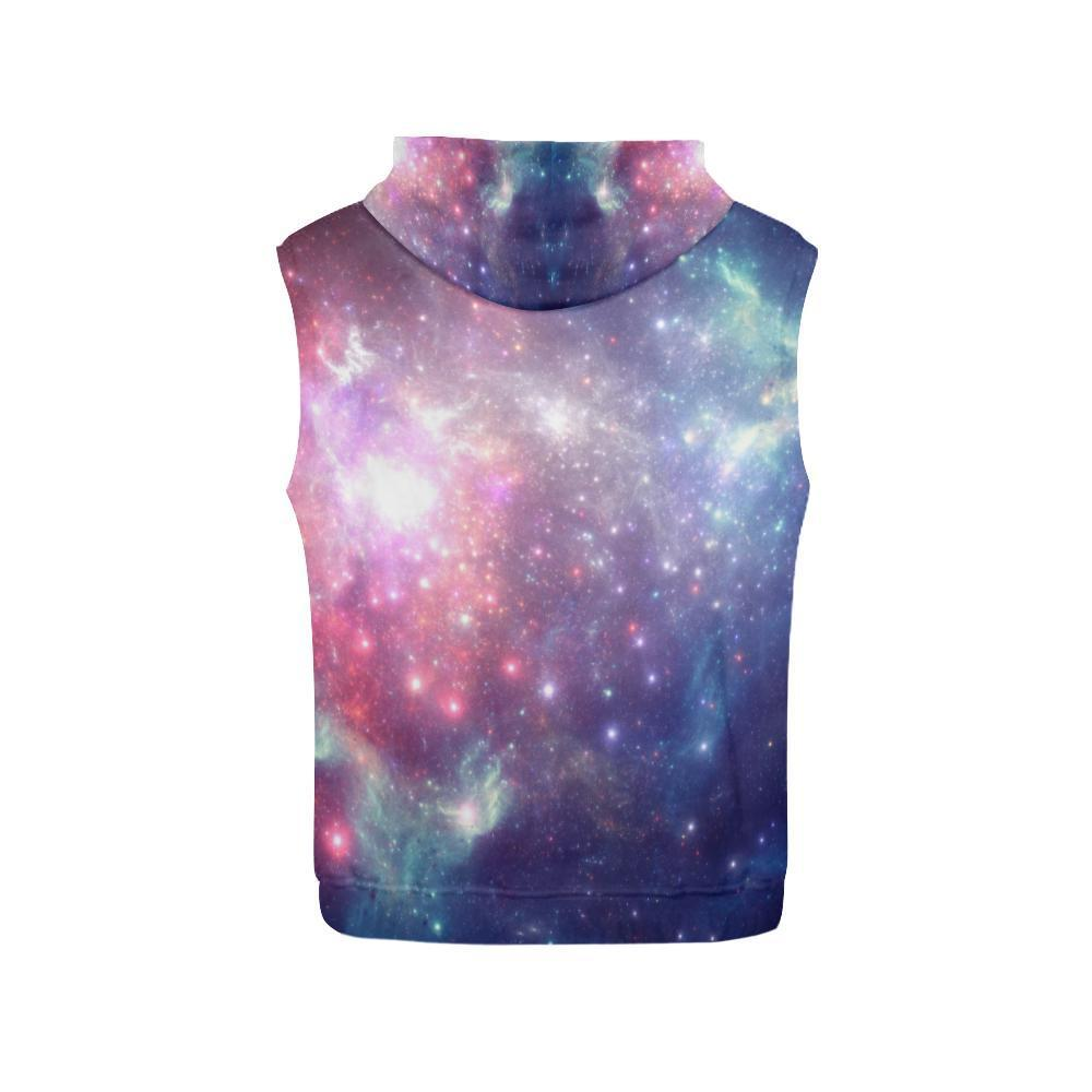 Bright Red Blue Stars Galaxy Space Print Women's Sleeveless Hoodie GearFrost