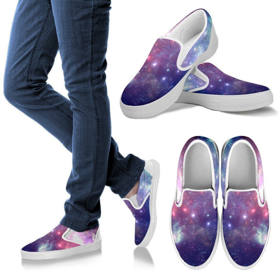 Bright Red Blue Stars Galaxy Space Print Women's Slip On Shoes GearFrost