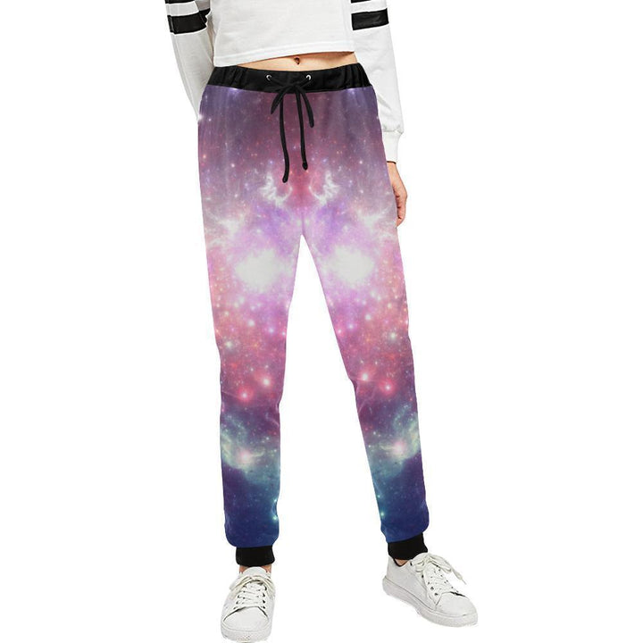 Bright Red Blue Stars Galaxy Space Print Women's Sweatpants GearFrost