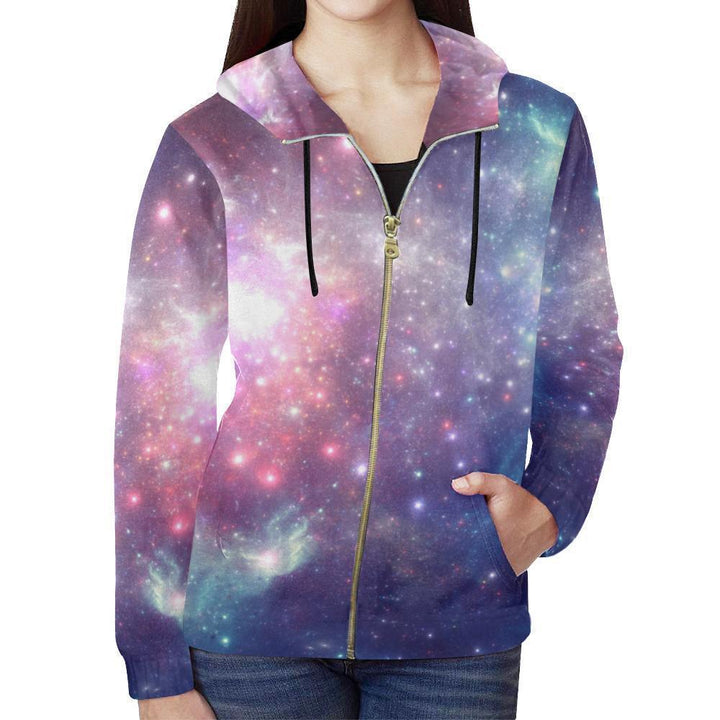 Bright Red Blue Stars Galaxy Space Print Women's Zip Up Hoodie GearFrost