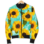 Bright Sunflower Pattern Print Men's Bomber Jacket GearFrost