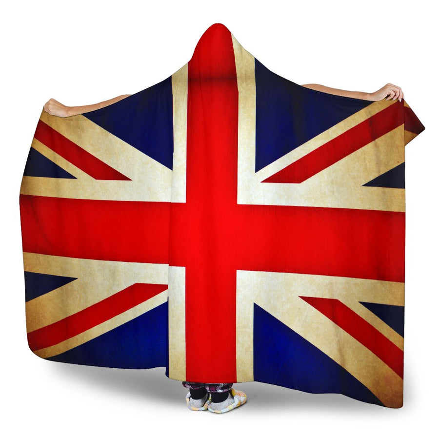 Bright Union Jack British Flag Print Hooded Blanket GearFrost
