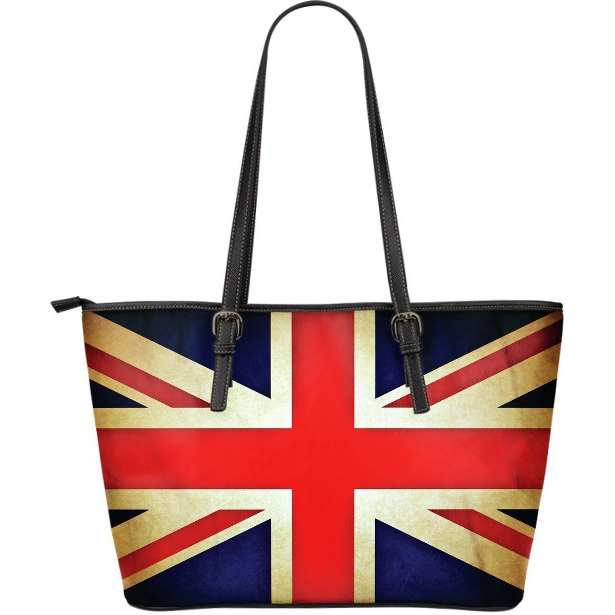 Bright Union Jack British Flag Print Leather Tote Bag GearFrost