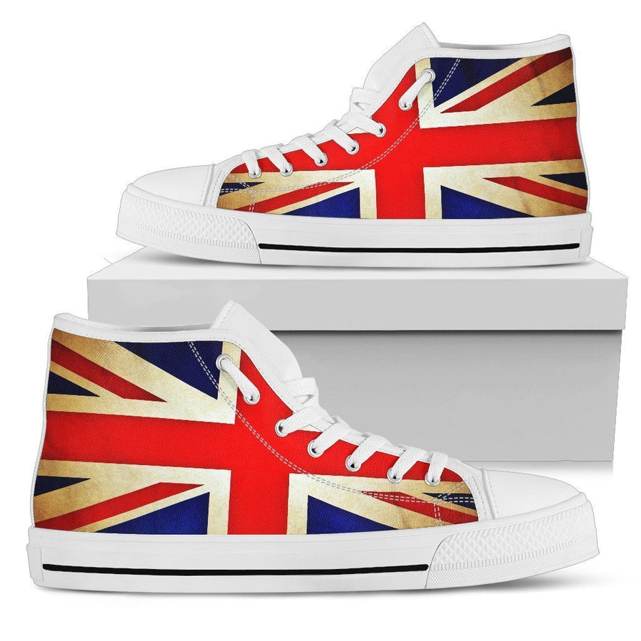 Bright Union Jack British Flag Print Men's High Top Shoes GearFrost