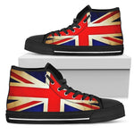 Bright Union Jack British Flag Print Women's High Top Shoes GearFrost