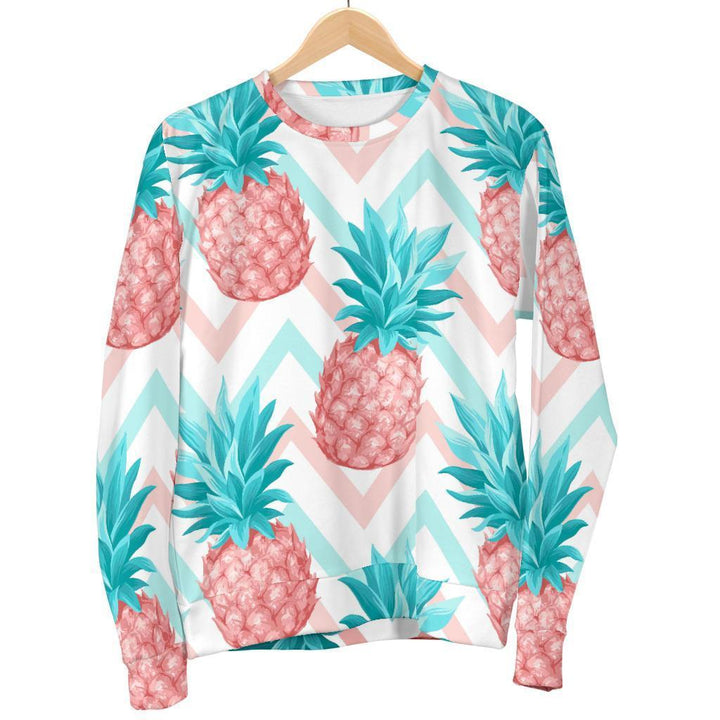 Bright Zig Zag Pineapple Pattern Print Women's Crewneck Sweatshirt GearFrost
