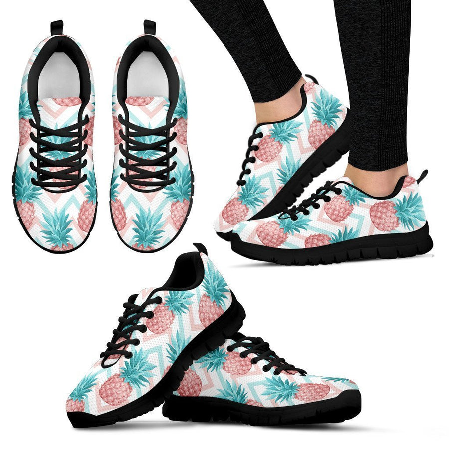 Bright Zig Zag Pineapple Pattern Print Women's Sneakers GearFrost