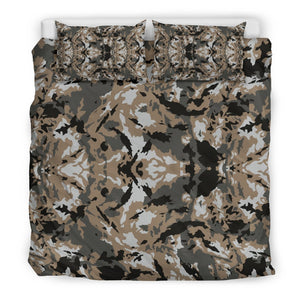 Brown And Black Camouflage Print Duvet Cover Bedding Set GearFrost