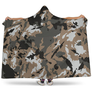 Brown And Black Camouflage Print Hooded Blanket GearFrost