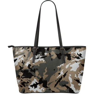 Brown And Black Camouflage Print Leather Tote Bag GearFrost