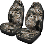 Brown And Black Camouflage Print Universal Fit Car Seat Covers GearFrost