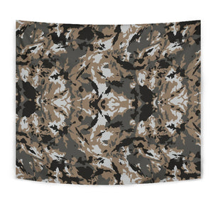 Brown And Black Camouflage Print Wall Tapestry GearFrost
