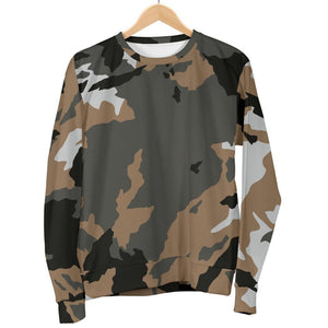 Brown And Black Camouflage Print Women's Crewneck Sweatshirt GearFrost