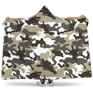 Brown And White Camouflage Print Hooded Blanket GearFrost
