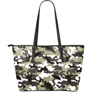 Brown And White Camouflage Print Leather Tote Bag GearFrost