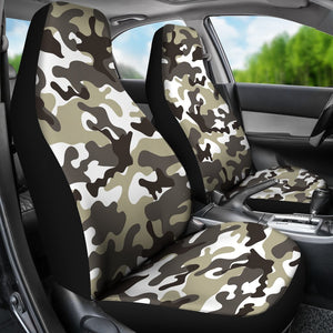 Brown And White Camouflage Print Universal Fit Car Seat Covers GearFrost