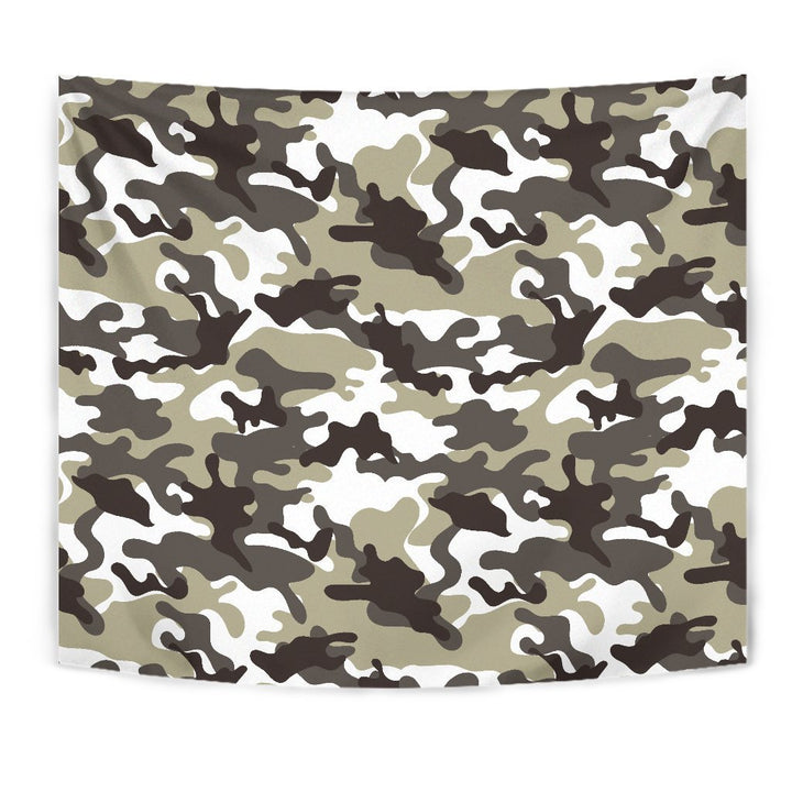 Brown And White Camouflage Print Wall Tapestry GearFrost