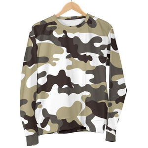 Brown And White Camouflage Print Women's Crewneck Sweatshirt GearFrost
