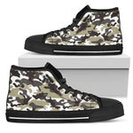 Brown And White Camouflage Print Women's High Top Shoes GearFrost