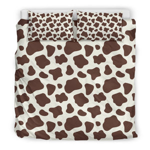 Brown And White Cow Print Duvet Cover Bedding Set GearFrost