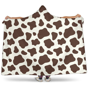Brown And White Cow Print Hooded Blanket GearFrost
