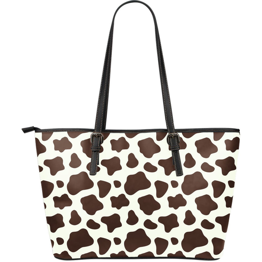 Brown And White Cow Print Leather Tote Bag GearFrost