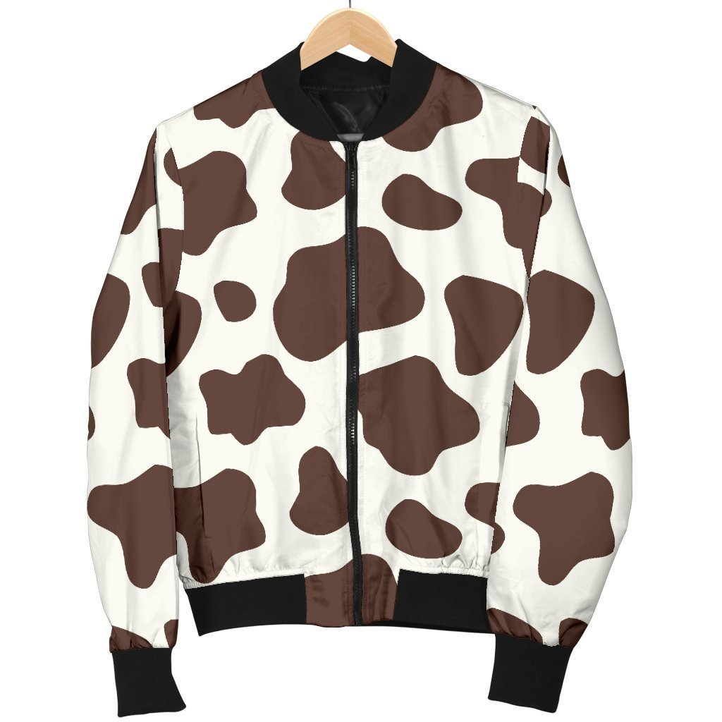 Brown And White Cow Print Men's Bomber Jacket GearFrost