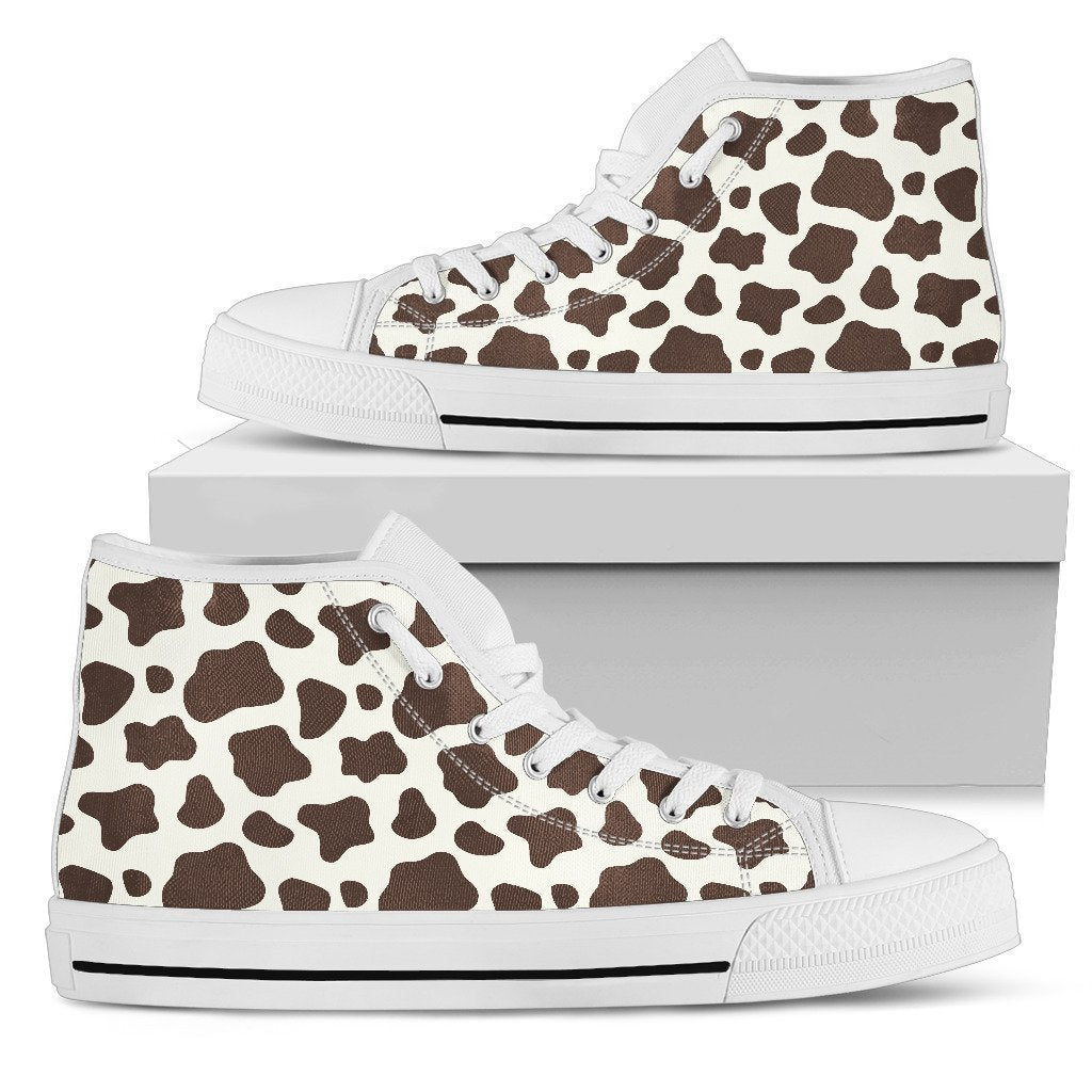 Brown And White Cow Print Men's High Top Shoes GearFrost