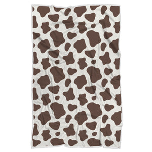 Brown And White Cow Print Sherpa Blanket GearFrost