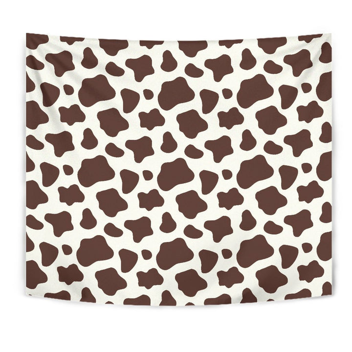 Brown And White Cow Print Wall Tapestry GearFrost