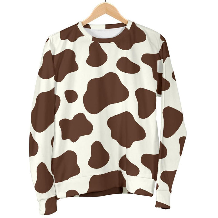 Brown And White Cow Print Women's Crewneck Sweatshirt GearFrost