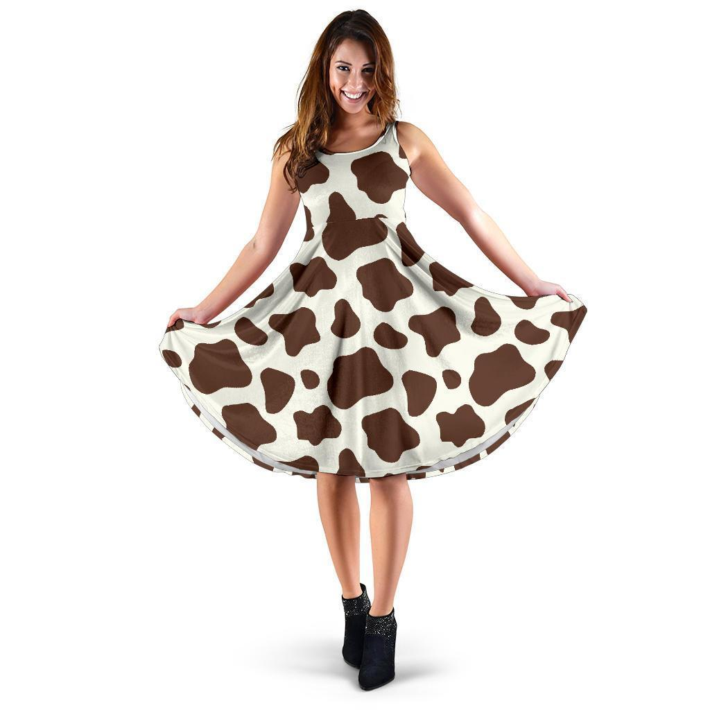 Brown And White Cow Print Women's Dress GearFrost