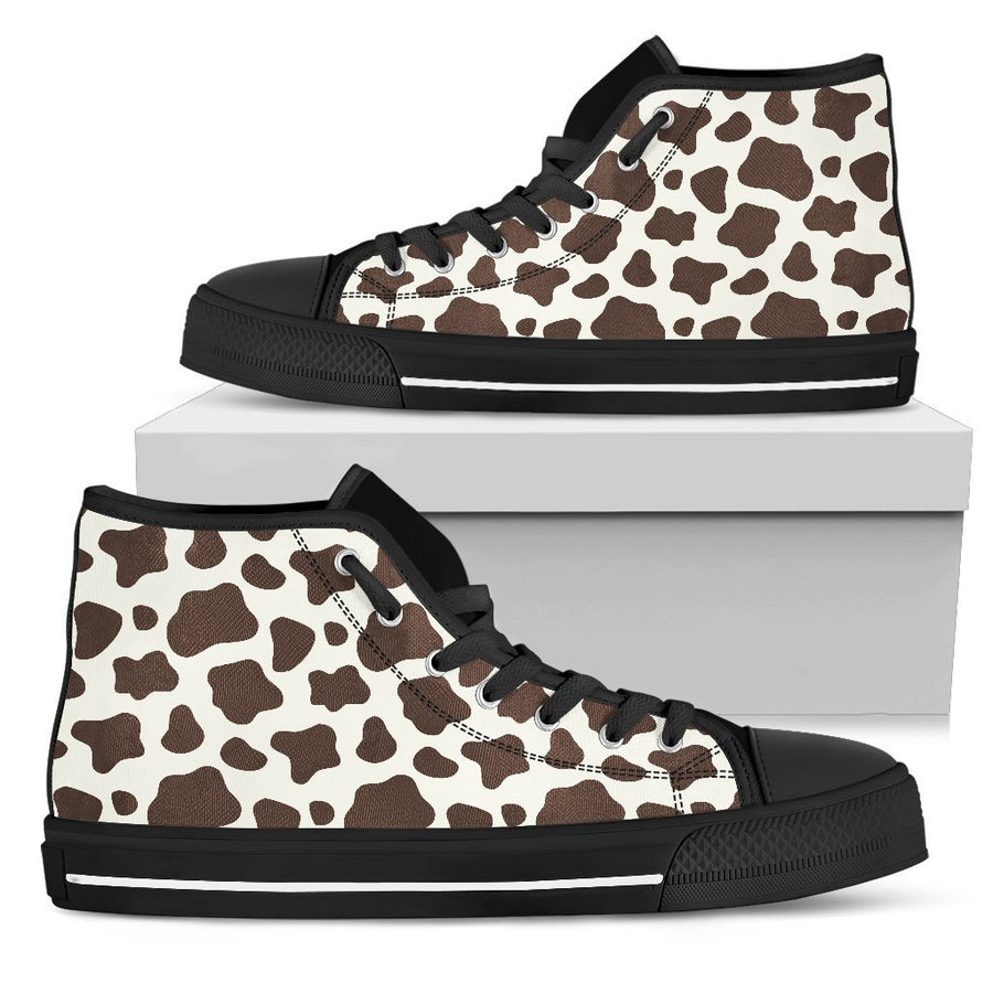 Brown And White Cow Print Women's High Top Shoes GearFrost